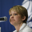 Texas Tech head coach Kristy Curry pauses during post game news conference after first-round game loss against South Florida in the women's NCAA college basketball tournament in Lubbock, Texas, Saturday, March 23, 2013. (AP Photo/LM Otero)