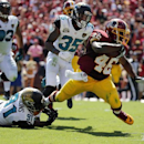 Washington Redskins running back Alfred Morris (46) is tripped up by Jacksonville Jaguars defensive end Chris Clemons (91) during the first half of an NFL football game Sunday, Sept. 14, 2014, in Landover, Md The Associated Press