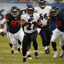 Baltimore Ravens running back Ray Rice (27) rushes past Chicago Bears linebacker James Anderson (50) and defensive tackle Landon Cohen (97) during the first half of an NFL football game, Sunday, Nov. 17, 2013, in Chicago The Associated Press