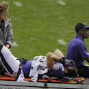 Baltimore Ravens tight end Dennis Pitta is carted off the field after an injury in the second quarter of an NFL football game against the Cleveland Browns Sunday, Sept. 21, 2014, in Cleveland The Associated Press