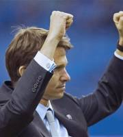 Montreal Impact head coach Jesse Marsch salutes the crowd afte the Impact defeated Toronto FC in an MLS soccer game in Montreal, Saturday, April 7, 2012. (AP Photo/The Canadian Press, Graham Hughes)