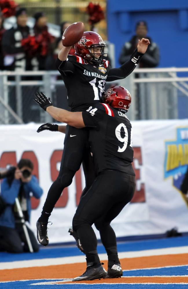 San Diego State quarterback Quinn Kaehler (18) and tight end Robert Craighead, right, celebrate Kaehler's touchdown during the first half of the Famous Idaho Potato Bowl NCAA college football game against Buffalo in Boise, Idaho, on Saturday, Dec. 21, 2013