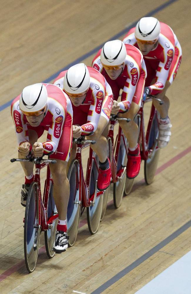 The Danish team qualifies for the bronze medal race in the Men's Team Pursuit competition during the Track Cycling World Cup at the National Cycling Centre, Manchester, England, Friday, Nov. 1, 2013