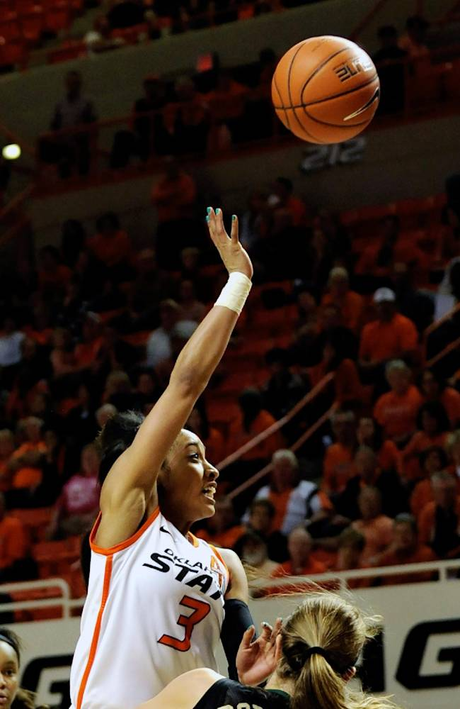 Oklahoma State guard Tiffany Bias (3) takes a shot over Baylor guard Makenzie Robertson (14) during the second half of an NCAA college basketball game in Stillwater, Okla., Sunday, Jan. 26, 2014. Bias led Oklahoma State scoring with 17 points in the 66-69 loss to Baylor