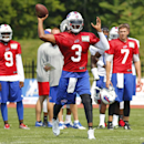 Buffalo Bills quarterback EJ Manuel (3) throws a pass during their NFL football training camp in Pittsford, N.Y., Monday, July 21, 2014 The Associated Press