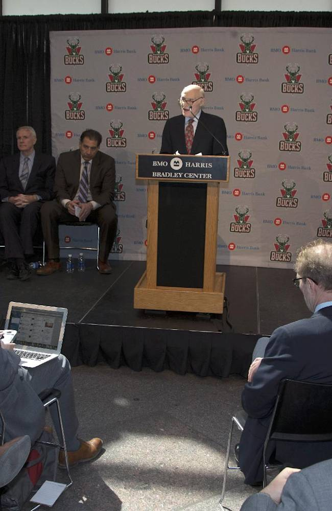 Milwaukee Bucks owner Herb Kohl speaks at a news conference after reaching a deal to sell the NBA basketball franchise to New York investment firm executives Marc Lasry and Wesley Edens Wednesday, April 16, 2014, in Milwaukee. The deal is subject to approval by the NBA and its Board of Governors