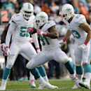 Miami Dolphins defensive end Cameron Wake (91) celebrates after forcing Chicago Bears quarterback Jay Cutler to fumble and then recovering the ball during the second half of an NFL football game Sunday, Oct. 19, 2014 in Chicago The Associated Press