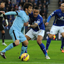 Leicester's Danny Simpson tackles Manchester City's David Silva, left, during the English Premier League soccer match between Leicester City and Manchester City at King Power Stadium, in Leicester, England, Saturday, Dec. 13, 2014