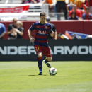 FC Barcelona's Thomas Vermaelen dribbles the ball during an International Champions Cup soccer match against Manchester United at Levi's Stadium, Saturday, June 25, 2015, in Santa Clara, Calif. (Terrell Lloyd/AP Images for Relevent Sports)