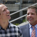 New Orleans Saints quarterback Drew Brees, left, and head coach Sean Payton, arrive for a a statue unveiling of New Orleans Saints owner Tom Benson, outside the Mecedes-Benz Superdome in New Orleans, Tuesday, Sept. 2, 2014 The Associated Press