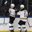 Boston Bruins' Milan Lucic, left, celebrates his goal with teammate Jarome Iginla during the third period of an NHL hockey game against the New York Rangers Sunday, March 2, 2014, in New York. The Bruins defeated the Rangers 6-3 The Associated Press