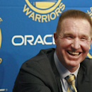 FILE - In this March 19, 2012, file photo, former Golden State Warriors player Chris Mullin laughs while speaking at a news conference before an NBA basketball game between the Warriors and the Minnesota Timberwolves in Oakland, Calif. Chris Mullin is coming home to St. John's. The Red Storm announced Tuesday, March 31, 2015 that their career scoring leader and the player who led them to the 1985 Final Four is returning as coach. (AP Photo/Jeff Chiu, File)