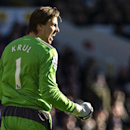 Newcastle United s Tim Krul celebrates after his team scored against Tottenham Hotspur during their English Premier League soccer match at the White Hart Lane stadium in London, Sunday Nov. 10, 2013