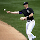 Colorado Rockies second baseman DJ LeMahieu throws Chicago White Sox's Adam Dunn out at first during the fifth inning of a spring exhibition baseball game in Scottsdale, Ariz., Sunday, March 23, 2014 The Associated Press