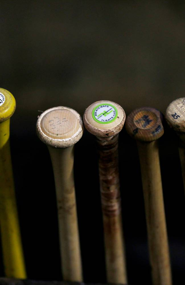 In this Nov. 27, 2013 photo, baseball bats are lined up in the Tiburones of La Guaira's dugout prior to a baseball game against the Leones of Caracas at the Estadio Universitario in Caracas, Venezuela. In the land of Hugo Chavez, a place in many ways hostile to Americans owing to its reputation for rampant crime, a crumbling economy and an anti-capitalist government, hitters and hurlers from across the U.S. are thriving as they try to impress big league scouts who come for the winter season