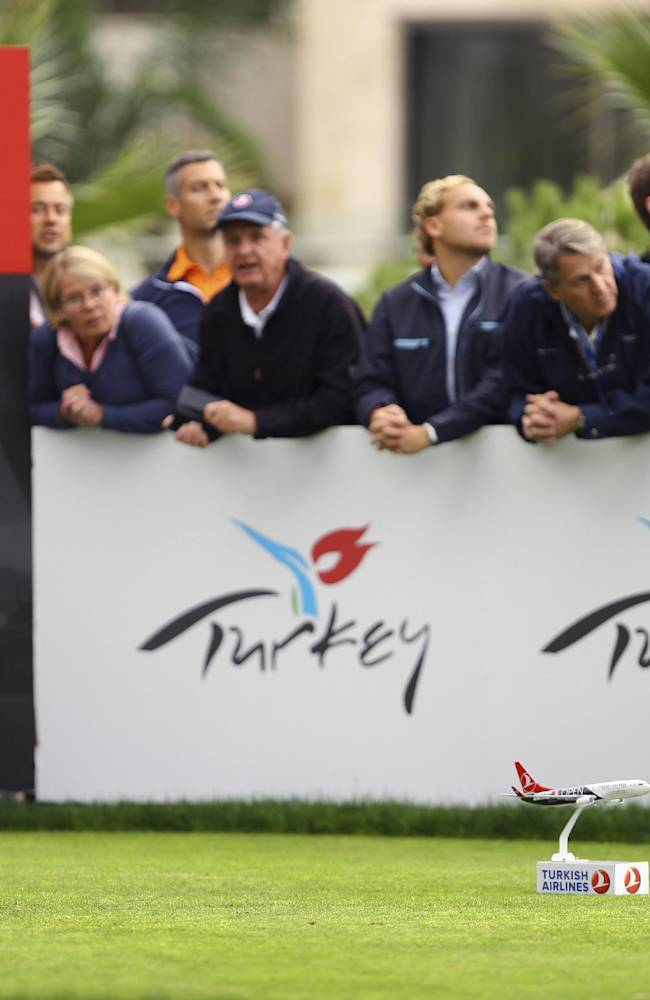 Sweden's Henrik Stenson watches the flight of his tee shot at the 9th hole during the first round of the Turkish Airlines Open golf tournament at the Montgomerie Maxx Royal Course in Antalya, Turkey, Thursday, Nov. 7, 2013
