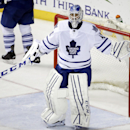 Toronto Maple Leafs goalie Jonathan Bernier pleads his case to an official after the Nashville Predators scored a goal in the third period of an NHL hockey game Tuesday, Feb. 3, 2015, in Nashville, Tenn. The Predators won 4-3 The Associated Press