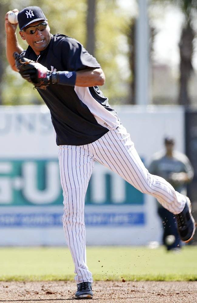 New York Yankees shortstop Derek Jeter throws on a practice field before a spring training baseball game against the Tampa Bay Rays in Tampa, Fla., Sunday, March 9, 2014