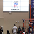 Nick Marshall weighs in at Auburn University's Pro Day, Tuesday, March. 3, 2015, in Auburn, Ala. The event is to showcase players for the upcoming NFL football draft. (AP Photo/Butch Dill)