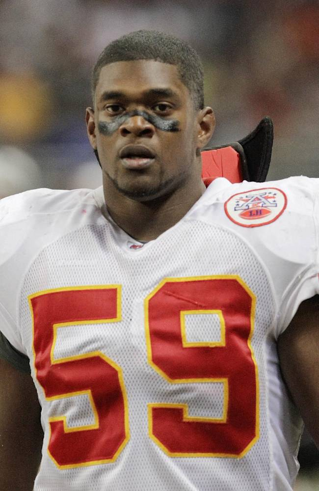 In this Dec. 19, 2010, file photo, Kansas City Chiefs linebacker Jovan Belcher (59) walks off the field during the third quarter of an NFL football game against the St. Louis Rams in St. Louis. An autopsy shows that Belcher shot his girlfriend nine times before he killed himself. The Jackson County Medical Examiner released the results of autopsies performed on Belcher and his 22-year-old girlfriend, Kasandra Perkins, Monday, Jan. 14, 2013, following their  deaths on Dec. 1