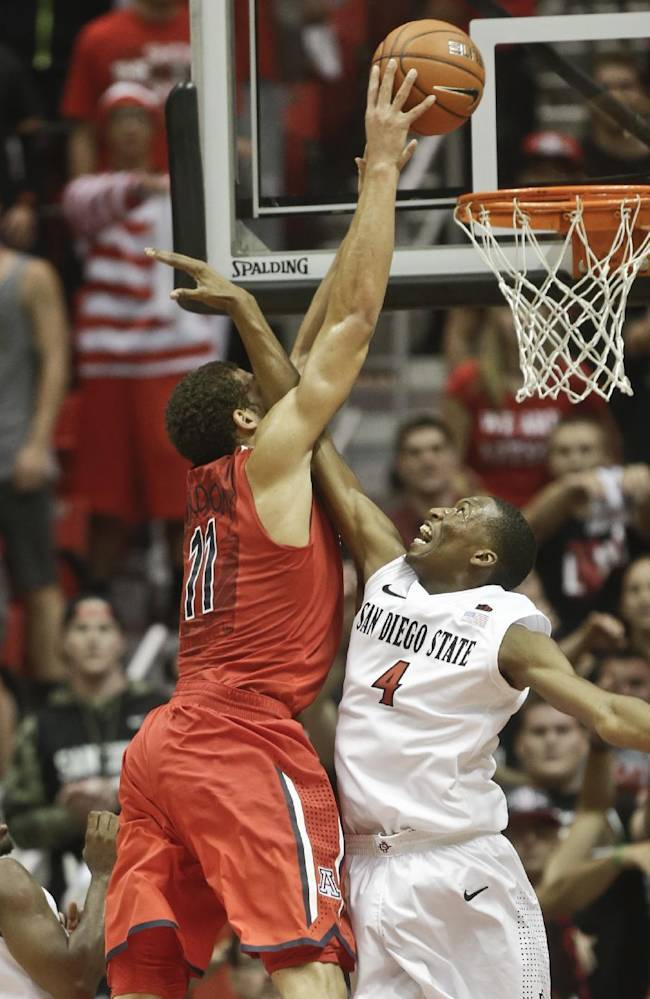 Arizona forward Aaron Gordon dunks over San Diego State guard Dakarai Allen after catching the inbounds pass during the second half of Arizona's  69-60 victory in a NCAA college basketball game Thursday, Nov. 14, 2013, in San Diego. Gordon was also fouled on the play