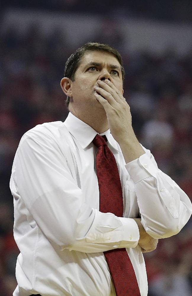 UNLV head coach Dave Rice reacts to a call during the first half of an NCAA college basketball game against New Mexico on Wednesday, Feb. 19, 2014, in Las Vegas