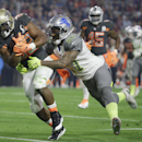 New Orleans Saints' Mark Ingram is tackled by Detroit Lions' Glover Quin during the second half of the NFL Football Pro Bowl Sunday, Jan. 25, 2015, in Glendale, Ariz The Associated Press