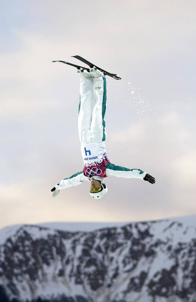 Australia's Lydia Lassila competes during the women's freestyle skiing aerials qualifying at the Rosa Khutor Extreme Park, at the 2014 Winter Olympics, Friday, Feb. 14, 2014, in Krasnaya Polyana, Russia