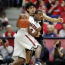 Arizona's Kevin Parrom (3) drives against Colorado's Sabatino Chen during the second half of an NCAA college basketball game at McKale Center in Tucson, Ariz., Thursday, Jan 3, 2013. Arizona won 92-83 in overtime. (AP Photo/John Miller)