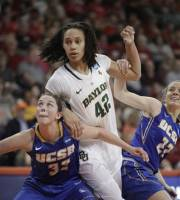 Baylor's Brittney Griner (42) looks for a rebound against UC Santa Barbara's Kristen Tilleman (32) and Melissa Zornig, Sunday, March 18, 2012, during the first half of a first-round NCAA women's college basketball tournament game in Bowling Green, Ohio. (AP Photo/J.D. Pooley)