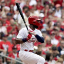 St. Louis Cardinals' Jason Heyward watches his RBI single during the fourth inning of a baseball game against the Arizona Diamondbacks, Monday, May 25, 2015, in St. Louis. (AP Photo/Jeff Roberson)