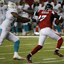 Atlanta Falcons wide receiver Devin Hester (17) moves away from Miami Dolphins linebacker Jonathan Freeny (56) during the first half of an NFL preseason football game, Friday, Aug. 8, 2014, in Atlanta The Associated Press