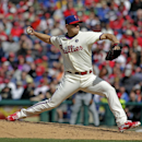 Philadelphia Phillies pitcher Jonathan Papelbon throws against the Atlanta Braves in the ninth inning of baseball game Thursday, April 17, 2014, in Philadelphia. The Phillies won 1-0 The Associated Press
