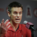 FILE - In this April 3, 2015, file photo, Los Angeles Angels general manager Jerry Dipoto speaks to reporters during a news conference in Anaheim, Calif. Dipoto resigned Wednesday, July 1, 2015, abruptly ending his 3 1/2-year tenure with the club amid apparent tensions with manager Mike Scioscia. (AP Photo/Jae C. Hong, File)
