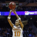 Tennessee guard Meighan Simmons (10) shoots during the first half of an NCAA women's college basketball game against Mississippi State, Thursday, Jan. 31, 2013, in Knoxville, Tenn. (AP Photo/Wade Payne)