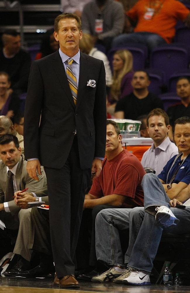 Phoenix Suns head coach Jeff Hornacek looks on in the third quarter during an NBA preseason basketball game against the Phoenix Suns on Tuesday, Oct. 15, 2013, in Phoenix