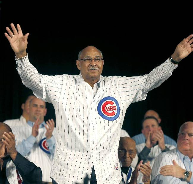 Chicago Cubs Hall-of-Famer Billy Williams is introduced during the Cubs' annual winter baseball convention on Friday, Jan. 17, 2014, in Chicago