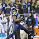 Seattle Seahawks defensive end Cliff Avril (56) celebrates after sacking Carolina Panthers quarterback Cam Newton during the second half of an NFL divisional playoff football game in Seattle, Saturday, Jan. 10, 2015 The Associated Press