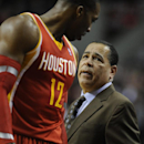Houston Rockets assistant coach Kelvin Sampson talks with Dwight Howard against Portland Trail Blazers' during the first half of an NBA basketball game in Portland, Ore.,Thursday Dec. 12, 2013 The Associated Press