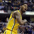 In this March 26, 2014 file photo, Indiana Pacers forward Paul George, reacts after scoring against in the Miami Heat during the second half of an NBA basketball game in Indianapolis. George has the pedigree to make it big in the NBA. He's been to the las