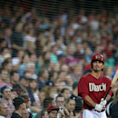 The Arizona Diamondbacks' Eric Chavez waits on deck to bat during their exhibition baseball game against Team Australia at the Sydney Cricket ground in Sydney, Friday, March 21, 2014. Major League Baseball will open their season Saturday in Sydney with th