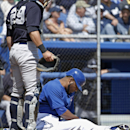 New York Yankees catcher Francisco Cervelli (29) looks at Toronto Blue Jays first baseman Edwin Encarnacion (10) after Encarnacion was struck on the forearm while batting in the fifth inning of a spring training baseball game in Dunedin, Fla., Wednesday,