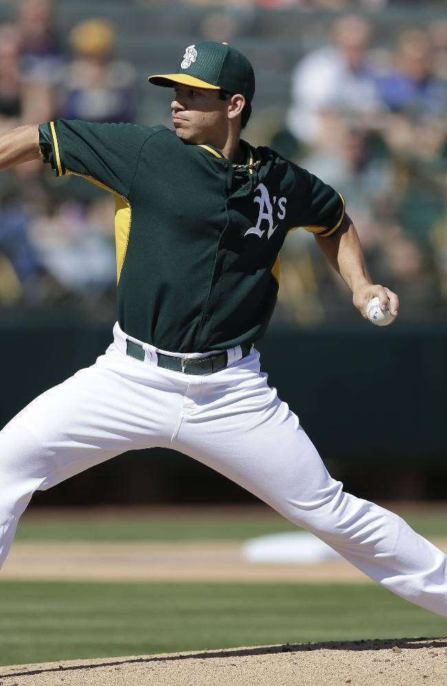 Oakland Athletics starting pitcher Tommy Milone throws against the Milwaukee Brewers during the first inning in a spring training baseball game on Thursday, Feb. 27, 2014, in Scottsdale, Ariz