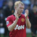 WEST BROMWICH, ENGLAND - MAY 19:  Paul Scholes of Manchester United applauds the fans after the Barclays Premier League match between West Bromwich Albion and Manchester United at The Hawthorns on May 19, 2013 in West Bromwich, England.  (Photo by John Peters/Man Utd via Getty Images)