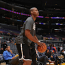 Jason Collins #46 of the Brooklyn Nets warms up before a game against the Los Angeles Lakers at STAPLES Center on February 23, 2014 in Los Angeles, California. (Photo by Andrew D. Bernstein/NBAE via Getty Images)