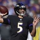 Baltimore Ravens quarterback Joe Flacco throws during the second half of an NFL football game against the Atlanta Falcons, Sunday, Oct. 19, 2014, in Baltimore The Associated Press