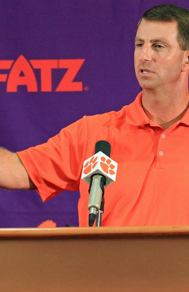 Clemson head coach Dabo Swinney discusses the Tigers' NCAA college football 2014 season at Memorial Stadium in Clemson, S.C. on Tuesday, Aug. 26, 2014. Clemson opens the season at Georgia on Aug. 30