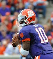 Clemson quarterback Tajh Boyd (10) looks to pass during the first half of an NCAA college football game against The Citadel, Saturday, Nov. 23, 2013, in Clemson, S.C. (AP Photo/Rainier Ehrhardt)