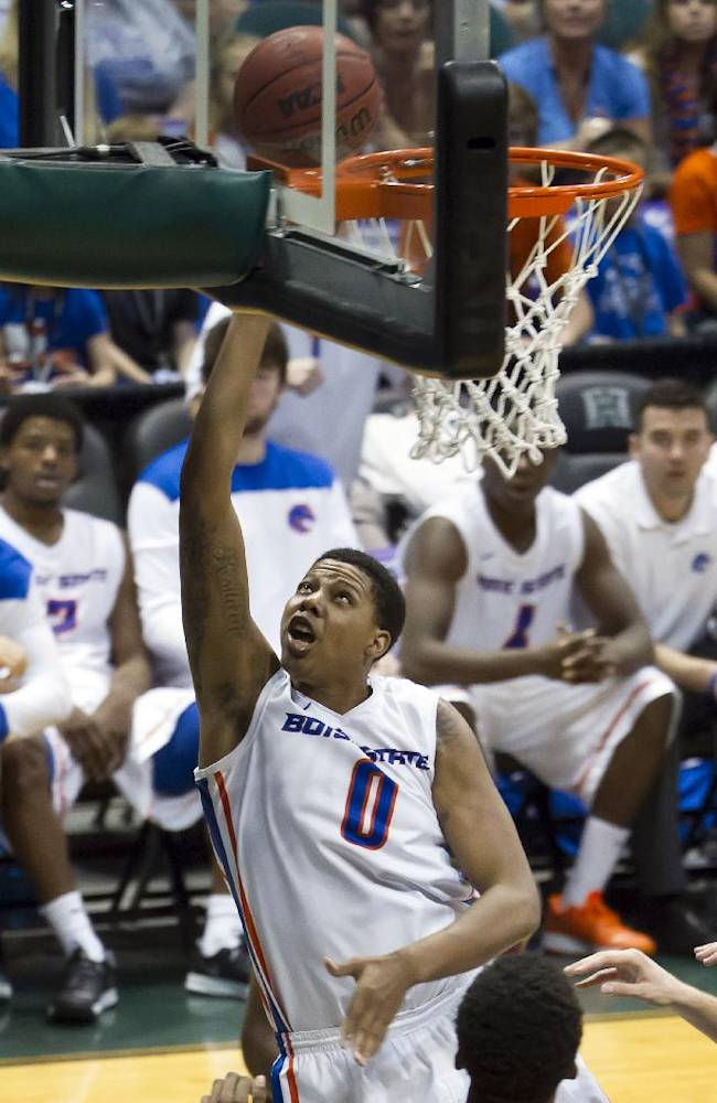 Boise State forward Ryan Watkins (0) shoots a lay up in the second half of an NCAA college basketball game at the Diamond Head Classic, Monday, Dec. 23, 2013, in Honolulu. Boise State won 80-54