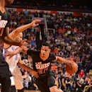 PHOENIX, AZ - MARCH 6: Gerald Green #14 of the Phoenix Suns drives against the Oklahoma City Thunder on March 6, 2014 at U.S. Airways Center in Phoenix, Arizona. (Photo by Barry Gossage/NBAE via Getty Images)